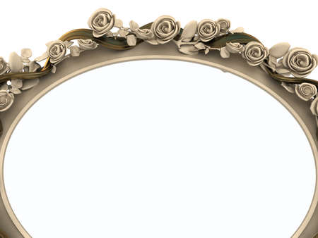 Decorative wooden mirror isolated on white background. Crop view photo