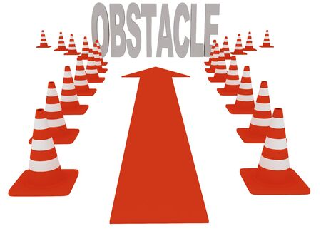 overcoming: Overcoming obstacles. On white background. 3d graphics