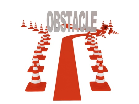 Overcoming obstacles. On white background. 3d graphics photo