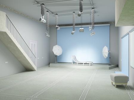 Studio fotografico astratto con apparecchiature di illuminazione. grafica 3D