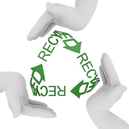 utilize: Recycling symbol. 3d render isolated on white