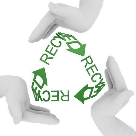 Simbolo di riciclaggio. 3D rendering isolata on white