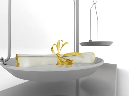 Quick balance isolated on white background. 3d render. photo