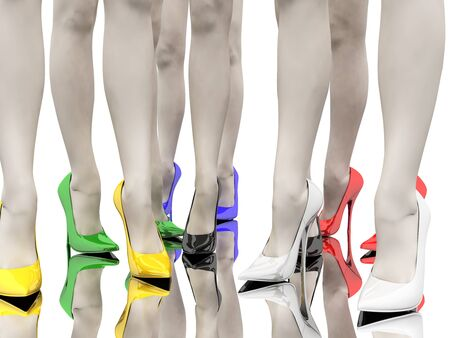Womens feet in the colored stiletto on the smooth floor
