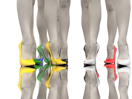 Women's feet in the colored stiletto on the smooth floor Stock Photo - 9575153