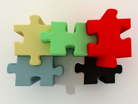 Diagram from color puzzle. On the white. Top view Stock Photo - 9575157