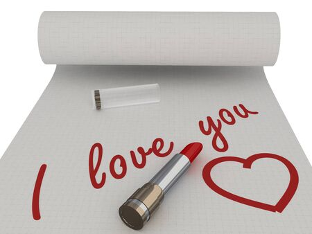 I love you. Words on a piece written by lipstick. Isolated photo