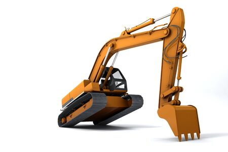 dug: Excavator is in the interesting position. Scoop rests on the ground. Isolated on white