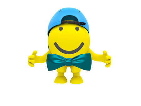 The smiley in a blue baseball-cap with bow-tie Stock Photo - 9622707