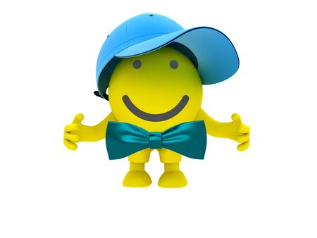 The yellow smiley in a blue cap Stock Photo - 9622708