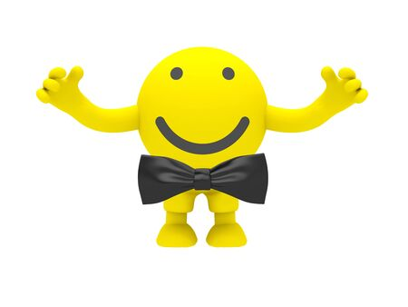 One yellow smiley isolated on white background Stock Photo - 9622706