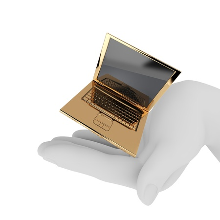 The golden notebook in the palm. 3d render isolated on white Stock Photo - 9622712
