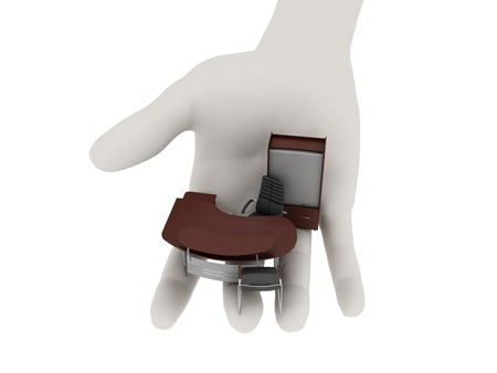 Office furniture in his outstretched palm. Isolated on white Stock Photo - 9622721