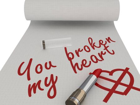 You broken my heart. Words on a piece written by lipstick. Isolated photo