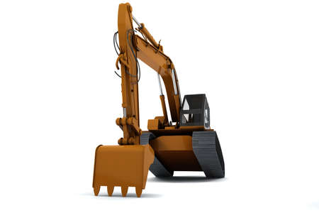 Excavator is in the interesting position. Scoop rests on the ground. Isolated on white Stock Photo - 9622720