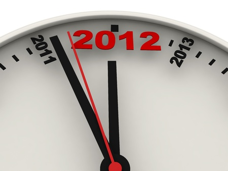 New Year's clock on white background. 3d render Stock Photo - 10309086