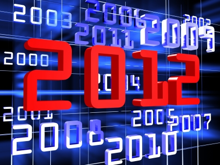Dark blue and red numerals of years on black background Stock Photo