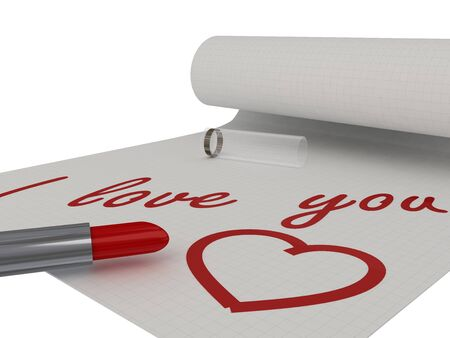 I love you. Words on a piece written by lipstick. Isolated Stock Photo - 10309094