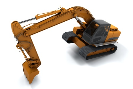 Excavator is in the interesting position. Scoop rests on the ground. Isolated on white Stock Photo - 10309093