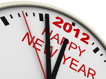 New Year's clock on white background. 3d render Stock Photo - 10657453