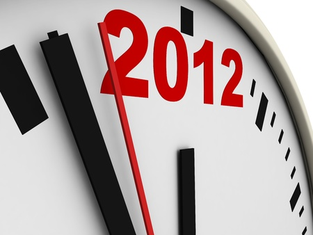 New Year's clock on white background. 3d render Stock Photo - 10657452