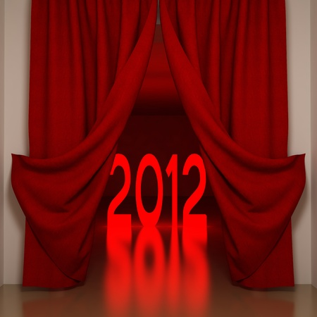 Number's of New Years 2012 behind red curtains Stock Photo - 10657455