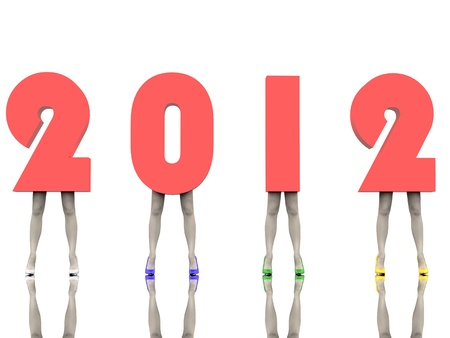 Numbers of the New Year 2012 are on the women's legs in colored stiletto Stock Photo - 10657443