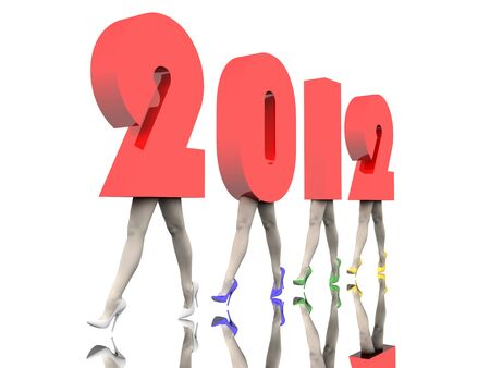 Numbers of the New Year 2012 are on the women's legs in colored stiletto Stock Photo - 10657444