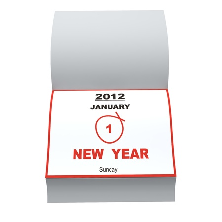 Open daily to recall New Year event. On white background Stock Photo - 10657447
