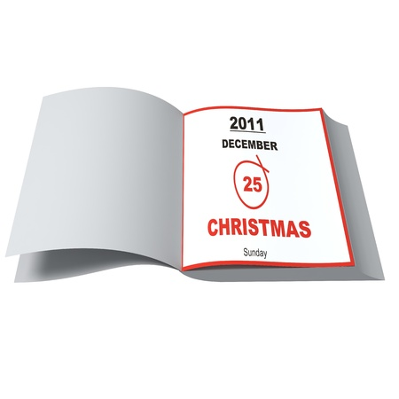 Open daily to recall Christmas Day. On white background Stock Photo - 10657445