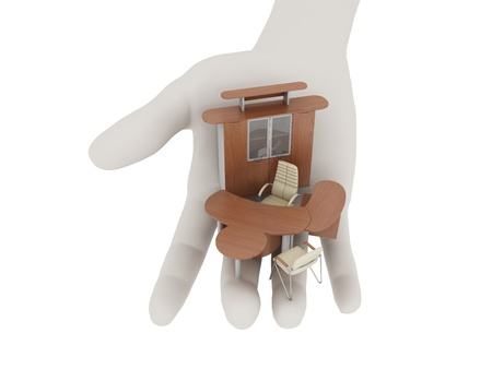 Office furniture in his outstretched palm. Isolated on white Stock Photo - 10657450