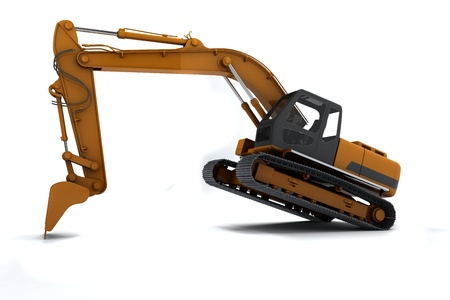 Excavator is in the interesting position. Scoop rests on the ground. Isolated on white Stock Photo - 10657451