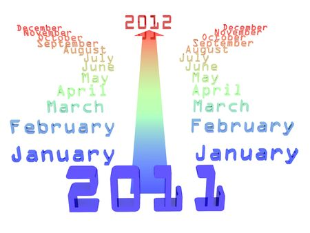 Arrow, which runs through calendar 2011 to 2012 Stock Photo - 10657449