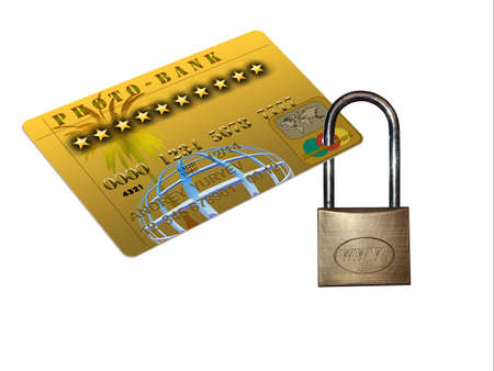plastic credit cards blocked with golden padlock photo