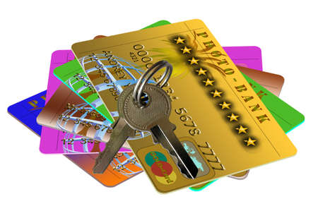 Keys to the credit card. Symbol access to the world Stock Photo - 7893521