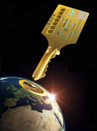 bankkonto: Die M�glichkeit, eine Kreditkarte, die Welt zu �ffnen Lizenzfreie Bilder