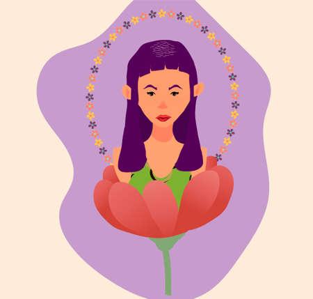 The girl in the flower Stockfoto - 129339229