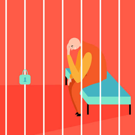 A bald prisoner is sitting behind bars. Jail. Stressful situations. Editable vector illustration