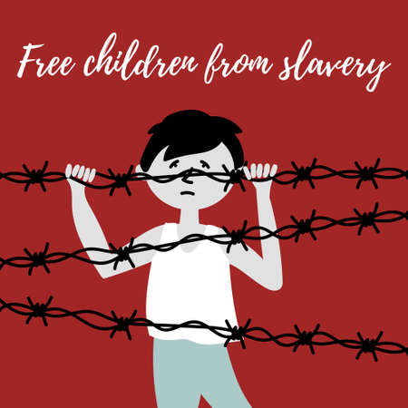 A child behind a barbed wire. The slave trade of children. Child abuse. Editable vector illustration Çizim