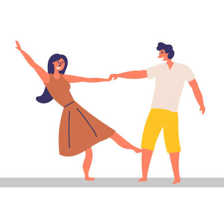 A girl and a guy spend time together. Dancing effortlessly.