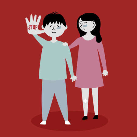 Children ask to stop the violence. Children stand behind each other. Stop mocking the kids. Child abuse. Editable vector illustration Ilustracja