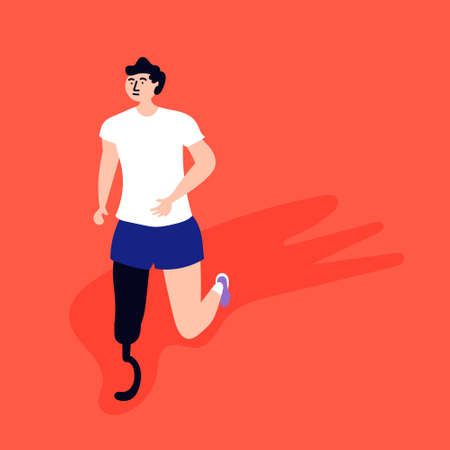 Disabled athlete engaged in jogging. Stressful situations. Editable Vector Illustration