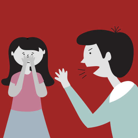 Father screams at his daughter. Father is angry and waving his arms. Daughter is scared. Child abuse. Editable vector illustration Illustration