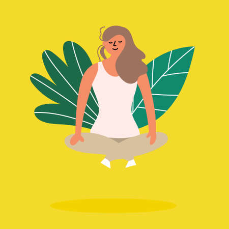 Girl meditating in lotus position and soars above the ground. Editable vector illustration Illustration