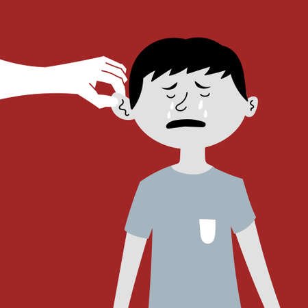 Humiliation and beating of a child. Pulling by the ear, the boy is crying. The slave trade of children. Child abuse. Editable vector illustration Ilustracja