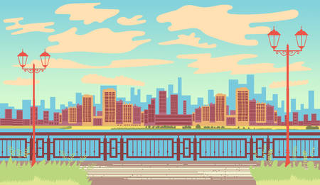 Landscape by the sea. Seafront. First line. Retro landscape. View of the metropolis. Vector editable illustration