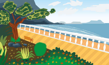 Landscape by the sea. Seafront. Imitation of watercolor. Summer landscape. Vector illustration