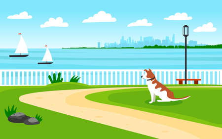 Landscape by the sea. Seafront. The dog looks into the distance to the shore. View of the metropolis. Sailing boats. Editable vector illustration