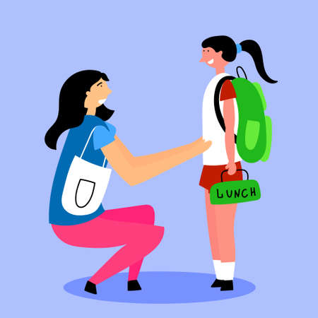 Mom escorts daughter to school girl. Back to school. Editable Vector Illustration