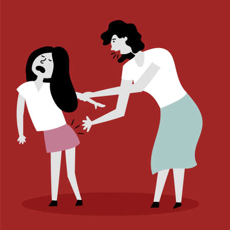 Mom spanks daughter on the backside. The child screams in pain. Beating children. Child abuse. Editable vector illustration Ilustracja